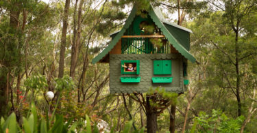 A secret tree house in the bush on the outskirts of Sydney. Photo: Jacky Ghossein