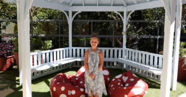 Bella Crittenden daughter of fundraiser Rachael Crittenden in the new Happy Garden rotunda at the Sydney Children's Hospital
