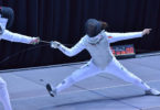 Alicia Kwag, right, is the best female foil fencer in Australia at the age of 16. Photo: supplied