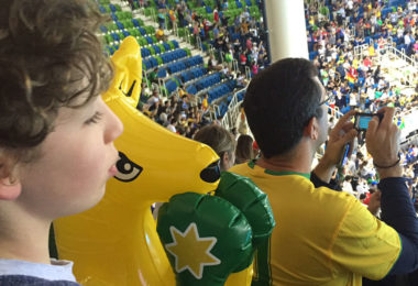 Noah is not watching the Olympic Games on television. He is there in Rio! Photo: supplied