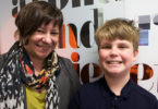 National Children's Commissioner Megan Mitchell and Crinkling News junior reporter, Jack Hamill. Photo: Rebecca Leaver
