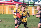 Rahn Sonneveld, 11, in action during the under 11s grand final for Maitland. His aim is to play in the big league one day. Photo: supplied