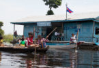 Students at Slot Khnong primary school travel home by boat after the day's classes. Photo: Save the Children