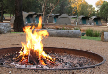 A campfire roars at the camp site at Dubbo Western Plains Zoo. Photo: supplied