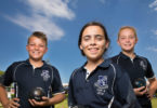 Bowlers of the future, from left, Bailey Pymble, Macie Gore and Jessica Curtis from Maitland East Public School. Photo: Peter Stoop
