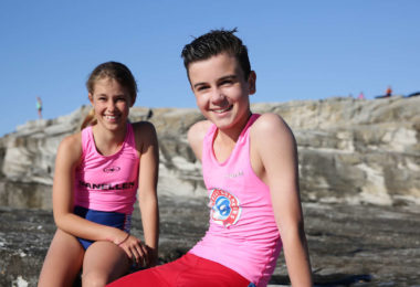 Jess Gross, left, and Alex Morris, both aged 12, are nippers from Sydney. Photo: Carly Earl