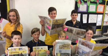 Students at Echunga Primary School in SA have been using Crinkling News to write plays. Top row, from L, Javre Brooks, Ricky Watson, Jacob Trabilsie. Bottom row, from L, Thomas Geromichalos, Foster Tobin, William Kettlestring, Georgina Kelman.