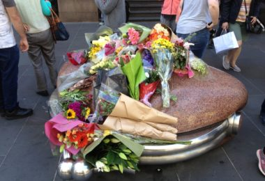 Lots of people have been laying flowers for the people who where hurt and killed in Friday's tragedy in Melbourne's centre. Photo: Heather Zubek