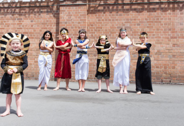 Kids dressed up for Ancient Egypt for the Egyptian Mummies exhibition at the Powerhouse Museum.