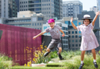 Max, left, and Chloe enjoying their high rise playground at Haileybury College in Melbourne, the city's first 'vertical school'. Photo: Elizabeth Clancy