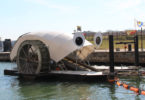 Professor Trash Wheel joins Mr Trash Wheel in Baltimore Harbour to scoop up rubbish washed into the water. Photo: Waterfront Partnership of Baltimore