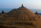 The Guinness World Records has declared this the world's tallest sandcastle on the beach on the Bay of Bengal made by Indian sand artist Sudarshan Pattnaik. Photo: STR, NurPhoto