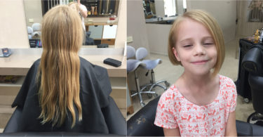 Tayla Dudley having her hair cut at Milk & Honey Hair in Gosford, NSW. She donated her plait to kids who are receiving treatment for cancer, when they often lose their hair. Photo: Shanowa Dudley