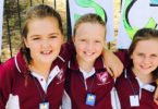 From left, Chelcea Robertson, 11, Tilly Coggan, 11, and Regan Manton, 10, at the Too Cool Writers School in Jugiong. Photo: Heather Zubek