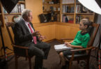 Ishan Biddle, in Year 4, interviews ANU Vice-Chancellor and Nobel Prize winner Professor Brian Schmidt for Crinkling News. Photo: Andrew Taylor
