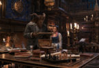 The Beast (Dan Stevens) and Belle (Emma Watson) in the castle library in Disney's Beauty and the Beast. Image: Disney