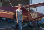 Adelaide Pilt, 16, has a licence to fly. here she is with a Skyfox Gazelle monoplane. Photo: supplied