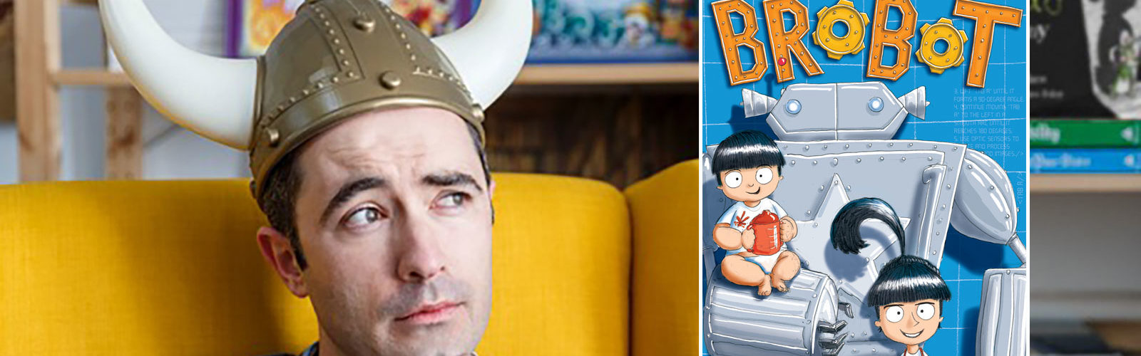 Author and illustrator James Foley in his Viking hat. Photo: Jessica Wyld