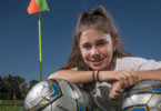 Claire Falls, 14, has low vision and is a champion for low vision and disability sports, especially in soccer. Photo: Andrew Taylor