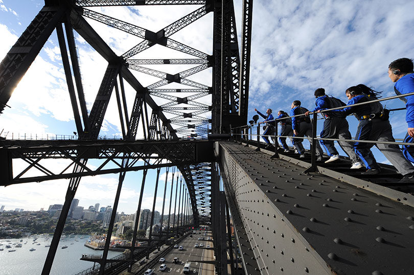 Climbing one of Australia's best-known landmarks, the Sydney Harbour Bridge. Photo: Bridge Climb