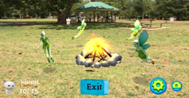 Fairies at the bottom of the garden! Screen shot from one of the Magical Park apps. Image: Geo AR Games