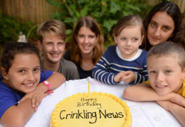 From left, Amalia, James, Emily, Peta, Leilani and Percy - Crinkling News readers celebrate the one year birthday of the only national newspaper for young Australians. Photo: Jeremy Piper