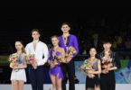 Harley Windsor, 20, and his skating partner, Ekaterina Alexandrovskaya, 17, won gold for Australia in the pairs skating at the world junior figure skating championship in Taipei on March 17. Photo: supplied