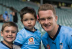 Junior Sydney FC fans meet midfielder Brandon O'Neill. Photo: Jaime Castaneda