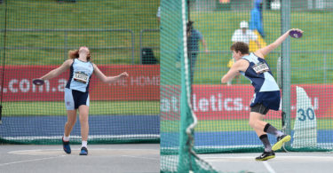 Left, Ashlyn Black and Kayne Gilmore at the national discus championships. Photo: Sports In Focus