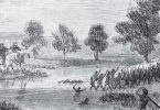 The Rufus River massacre took place in 1841 after local Aboriginal people had blocked an overlander route through their land. Thirty to 40 Aboriginal people lost their lives in the retaliatory attack. Illustration: Samuel Calvert/State Library of Victoria