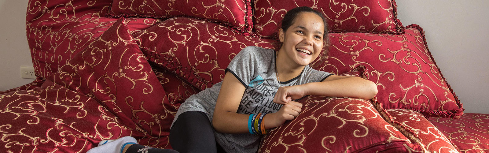 Roxana, 13, a refugee from Afganistan, at her home in Canberra. Photo: Andrew Taylor