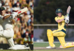 Steve Waugh and his son, Austin, left and right, have similar batting styles. Photos: Getty Images, Cricket Australia
