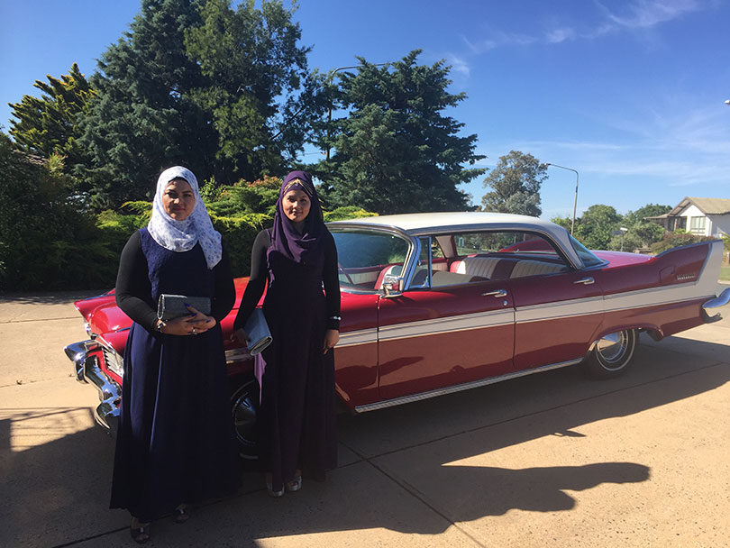 Tahereh and Masoumeh going to a Year 12 formal in 2016 in Canberra. Photo: supplied