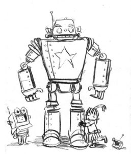 Writer and illustrator James Foley shares all his sketches and drawings of his characters in Brobot with his readers. Illustration: James Foley
