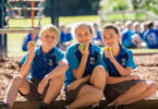 From left, Axel Lindeman, 11, Lily Maqueda, 11 and Audrey Greenhorn, 12, eating fruit for morning tea at Hastings Public School in Port Macquarie, NSW. Photo: Lindsay Moller
