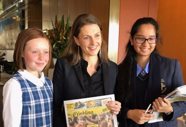 From left, Grace Gregson, Saffron Howden and Diya Mehta after giving evidence to the Senate's Public Interest Journalism Committee on May 17, 2017.