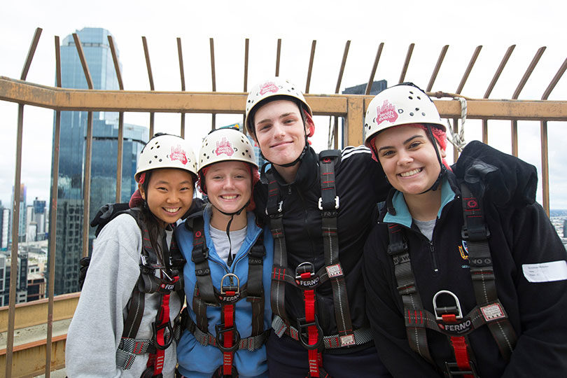 From left, Hannah Yoon, 17, Mieke Fowles, 16, Lewis Martin, 18, and Lucinda Phillipson, 16, getting ready to plunge down a skyscraper on April 29, 2017. Photo: Elizabeth Clancy