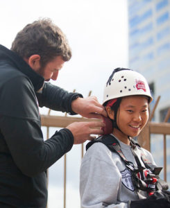 Hannah Yoon, 17, getting ready to abseil down a Melbourne skyscraper on April 29, 2017. Photo: Elizabeth Clancy
