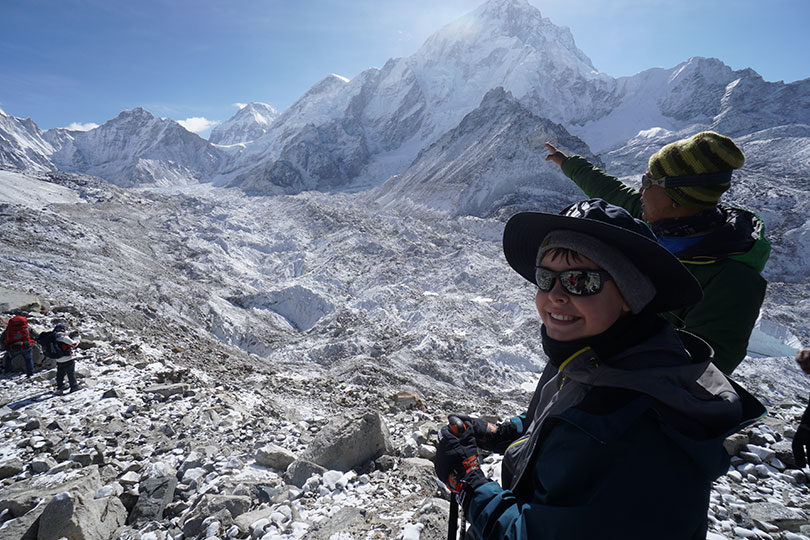Kaleb Sinclair, 13, from Perth climbed to base camp on the world's highest mountain to prove anything's possible. Photo: supplied