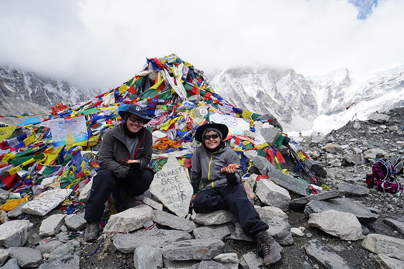 Kaleb Sinclair, 13, from Perth, climbed to base camp on the world's highest mountain with his dad, Rodney, to prove anything's possible. Photo: supplied
