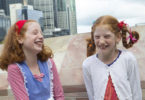 Lydia, left, as Raggedy Ann and her sister, Adele, as Pippy Longstocking at the Ginger Pride Rally in Melbourne on April 29, 2017. Photo: Elizabeth Clancy