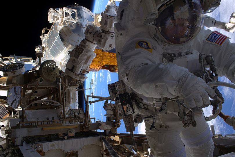 Peggy Whitson on a spacewalk at the International Space Station. Photo: NASA