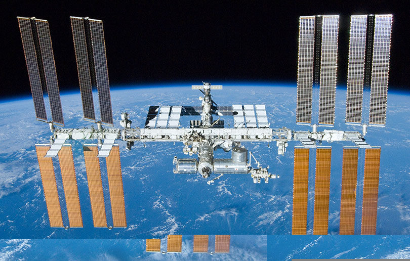 The International Space Station orbits the Earth every 90 minutes or so.