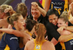 Cara celebrates with her teammates after they became the first team through to the Suncorp Super Netball grand final. Photos: Getty Images