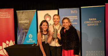From left, Isobel O'Brien, Code Rangers mentor Monica Wulff, and Sabrina Stitt. Photo: supplied