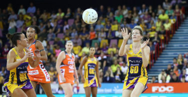 Karla Mostert of the Lightning passes the ball during the Super Netball grand final match between the Lightning and the Giants at the Brisbane Entertainment Centre on June 17, 2017 in Brisbane. Photo: Scott Barbour, Getty Images
