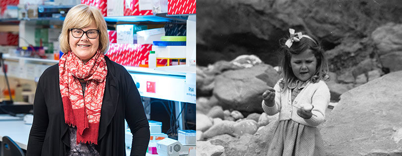 Left, Lois Salamonsen now and right, collecting rocks as a child. Photo supplied