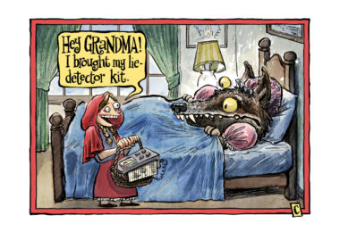 Little Red Riding Hood has a surprise of her own for 'grandma'. Illustration: Christopher Downes