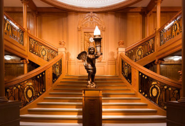 The grand staircase recreated for the Titanic exhibition. Photo: Imagine Exhibitions