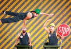 Trash Test Dummies acrobats Simon Wright, Jack Coleman and Jamie Bretman perform their shows using wheelie bins. Photo: supplied